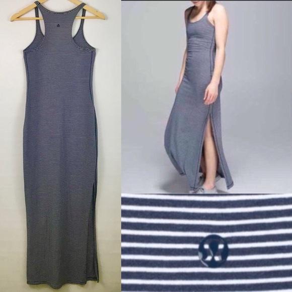 a9e1341cb4 lululemon athletica Dresses   Skirts - Lululemon Refresh Maxi Dress Hyper  Stripe Inkwell
